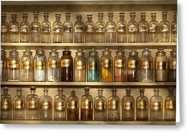 Labelled Greeting Cards - Pharmacy - Shop furniture Greeting Card by Mike Savad