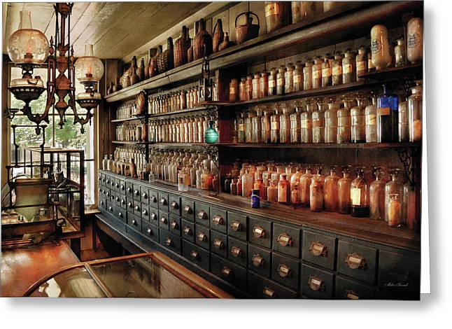 Msavad Greeting Cards - Pharmacy - So many drawers and bottles Greeting Card by Mike Savad
