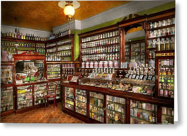 Pharmacy - The Chemist Shop Of Mr Jones 1907 Greeting Card by Mike Savad