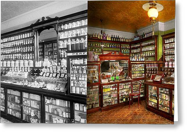 Pharmacy - The Chemist Shop Of Mr Jones 1907 - Side By Side Greeting Card by Mike Savad