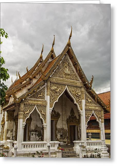 Phetchaburi Greeting Cards - Phetchaburi Temple with moody sky Greeting Card by Antony McAulay