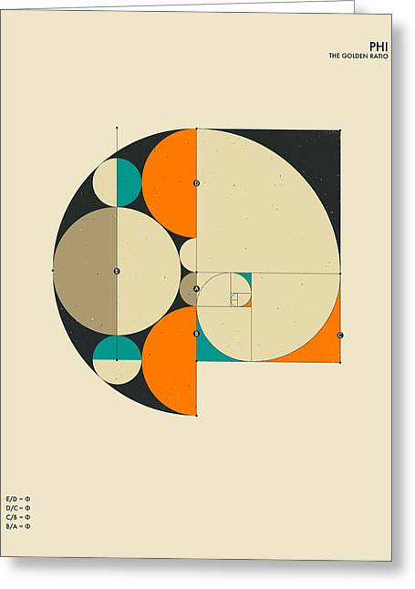 Geometry Greeting Cards - Phi Greeting Card by Jazzberry Blue