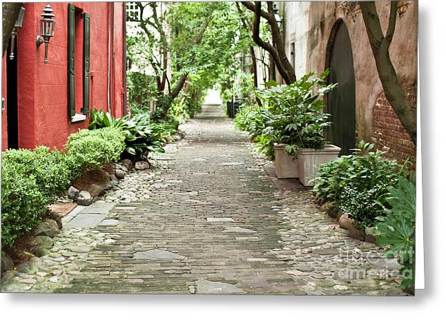 Red Buildings Greeting Cards - Philadelphia Alley Charleston Pathway Greeting Card by Dustin K Ryan