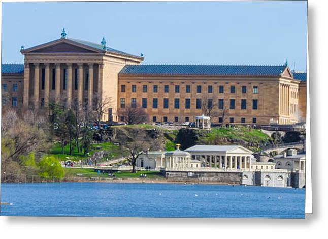 Philadelphia Digital Art Greeting Cards - Philadelphia Art Museum and Waterworks Panorama Greeting Card by Bill Cannon