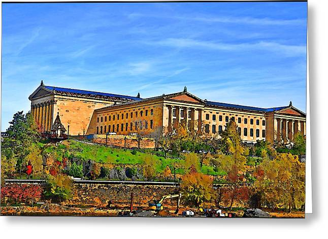 Philadelphia Art Museum Greeting Cards - Philadelphia Art Museum from West River Drive. Greeting Card by Bill Cannon