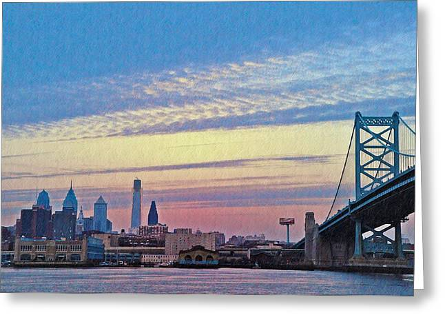 Ben Franklin Bridge Greeting Cards - Philadelphia at Dawn Greeting Card by Bill Cannon