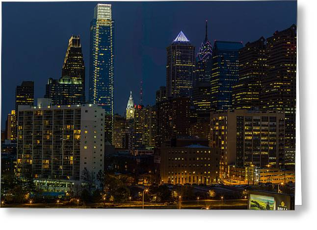 Phillies Mixed Media Greeting Cards - Philadelphia At Night Greeting Card by Capt Gerry Hare