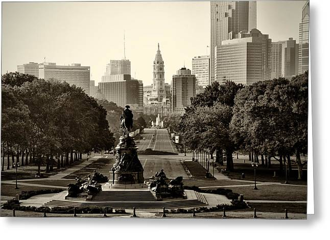 Philadelphia Benjamin Franklin Parkway In Sepia Greeting Card by Bill Cannon