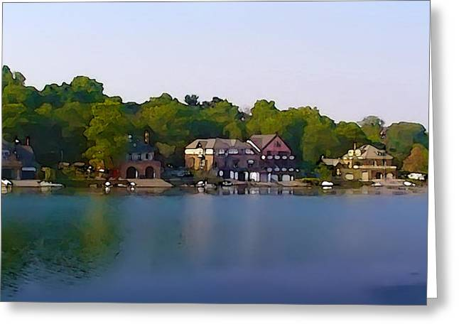 Fairmount Park Digital Art Greeting Cards - Philadelphia Boat House Row Greeting Card by Bill Cannon