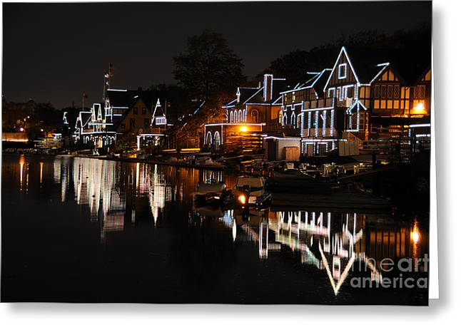 Philadelphia Greeting Cards - Philadelphia Boathouse Row at Night Greeting Card by Gary Whitton