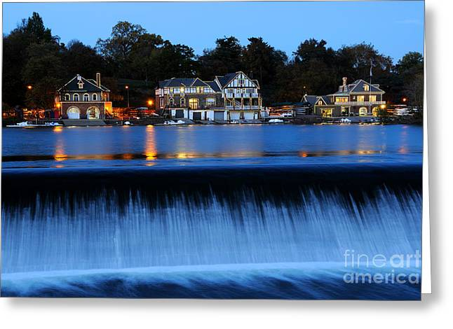 Neighborhoods Greeting Cards - Philadelphia Boathouse Row at Twilight Greeting Card by Gary Whitton