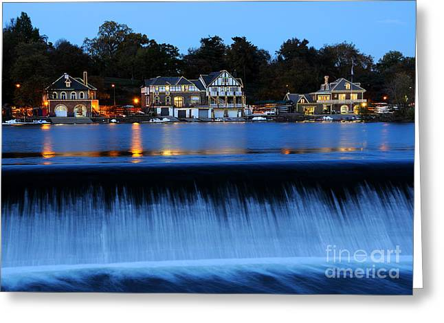 Boat House Row Greeting Cards - Philadelphia Boathouse Row at Twilight Greeting Card by Gary Whitton