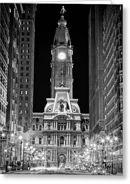 Black And White Hdr Greeting Cards - Philadelphia City Hall at Night Greeting Card by Val Black Russian Tourchin