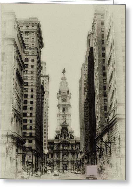 South Philadelphia Digital Art Greeting Cards - Philadelphia City Hall From South Broad Street Greeting Card by Bill Cannon