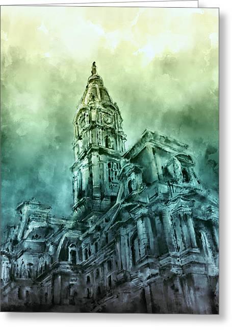 Philadelphia City Hall Green Greeting Card by Bekim Art