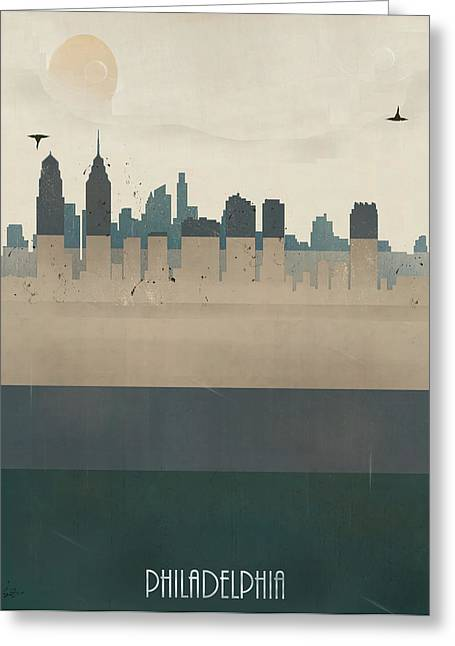 Philadelphia Digital Art Greeting Cards - Philadelphia City Skyline Greeting Card by Bri Buckley