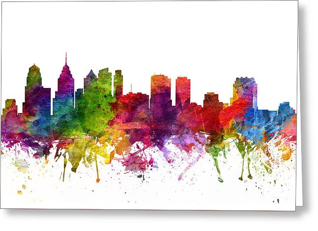 Pennsylvania Drawings Greeting Cards - Philadelphia Cityscape 06 Greeting Card by Aged Pixel