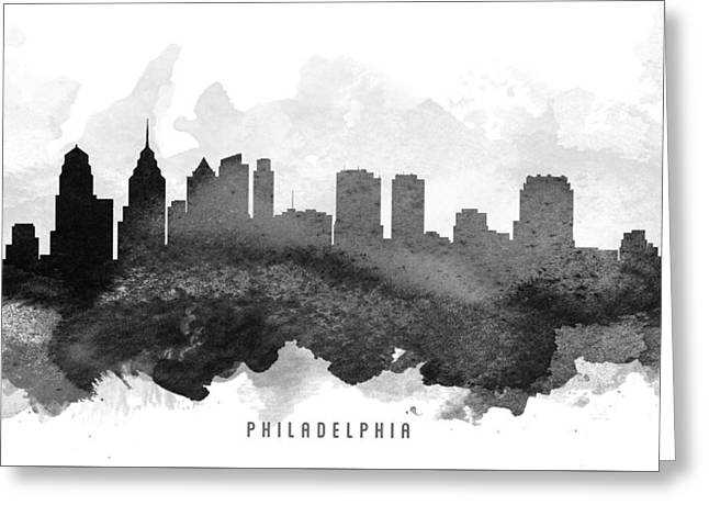 Philadelphia Digital Art Greeting Cards - Philadelphia Cityscape 11 Greeting Card by Aged Pixel