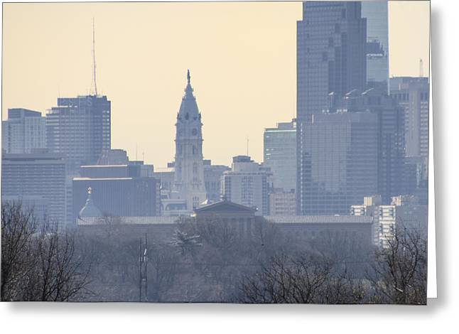 Philadelphia Digital Art Greeting Cards - Philadelphia Cityscape from the West Greeting Card by Bill Cannon