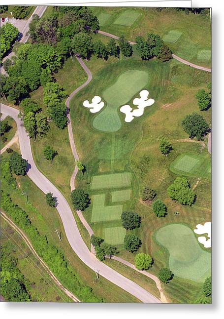 Aerials Of Philly Cricket Greeting Cards - Philadelphia Cricket Club Militia Hill Golf Course 11th Hole Greeting Card by Duncan Pearson
