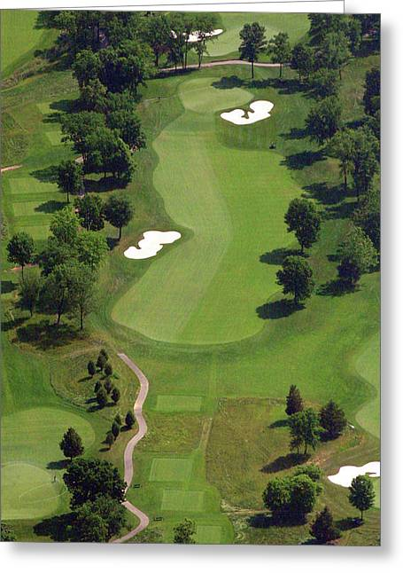 Golf Design Greeting Cards - Philadelphia Cricket Club Militia Hill Golf Course 16th Hole 2 Greeting Card by Duncan Pearson