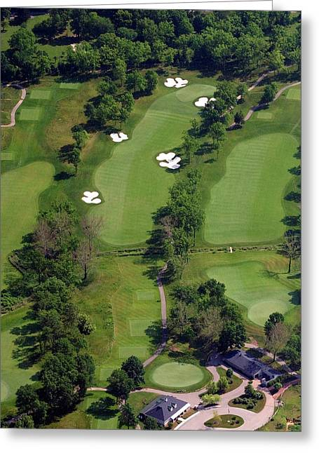 Aerials Of Philly Cricket Greeting Cards - Philadelphia Cricket Club Militia Hill Golf Course 1st Hole Greeting Card by Duncan Pearson