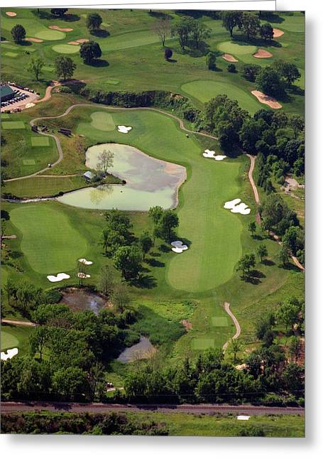 Aerials Of Philly Cricket Greeting Cards - Philadelphia Cricket Club Militia Hill Golf Course 3rd Hole Greeting Card by Duncan Pearson