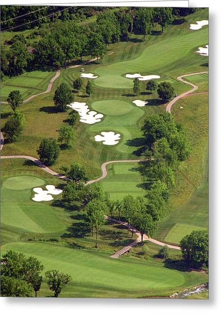 Aerials Of Philly Cricket Greeting Cards - Philadelphia Cricket Club Militia Hill Golf Course 5th Hole Greeting Card by Duncan Pearson