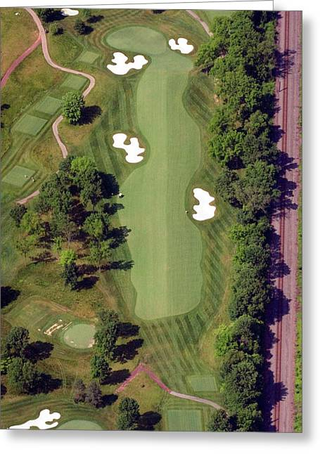 Aerials Of Philly Cricket Greeting Cards - Philadelphia Cricket Club Militia Hill Golf Course 8th Hole Greeting Card by Duncan Pearson