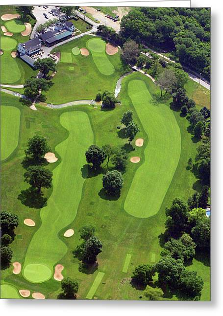 Aerials Of Philly Cricket Greeting Cards - Philadelphia Cricket Club Wissahickon Golf Course 18th Hole Greeting Card by Duncan Pearson