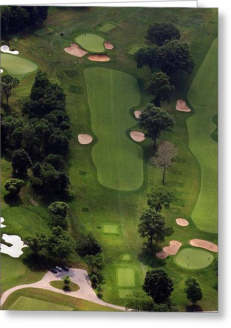 Golf Design Greeting Cards - Philadelphia Cricket Club Wissahickon Golf Course 5th Hole Greeting Card by Duncan Pearson