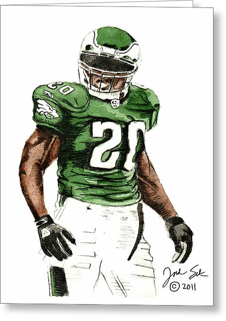 Brian Dawkins Greeting Cards - Philadelphia Eagles Brian Dawkins #20 Greeting Card by Jordan Spector