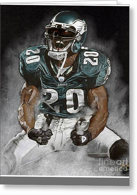 Brian Dawkins Greeting Cards - Philadelphia Eagles Brian Dawkins The Legend Greeting Card by Jordan Spector
