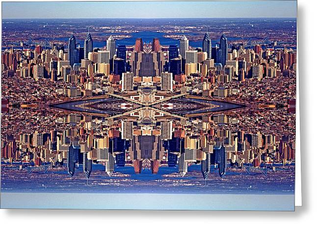 Custom Aerial Greeting Cards - Philadelphia Geometric Collage Greeting Card by Duncan Pearson