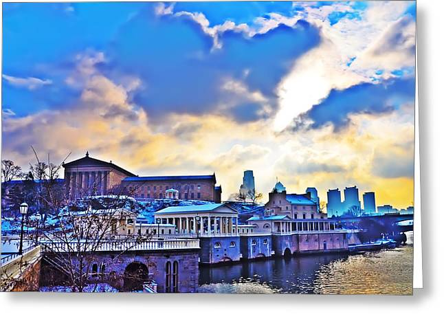 Center City Greeting Cards - Philadelphia Museum of Art and the Fairmount Waterworks Greeting Card by Bill Cannon
