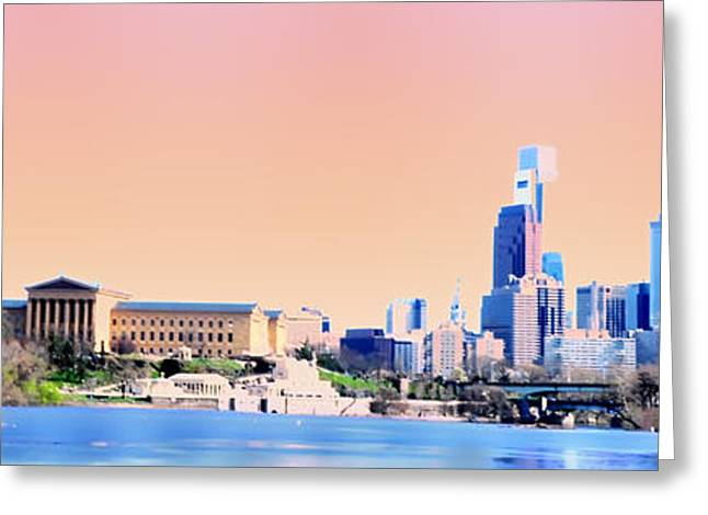 Philadelphia Digital Greeting Cards - Philadelphia Panoramic Greeting Card by Bill Cannon