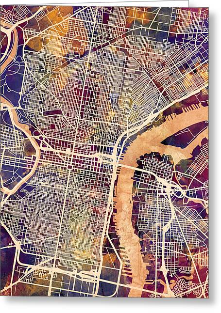 Streets Greeting Cards - Philadelphia Pennsylvania City Street Map Greeting Card by Michael Tompsett