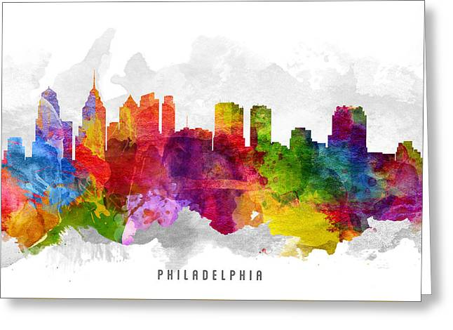 Philadelphia Pennsylvania Cityscape 13 Greeting Card by Aged Pixel