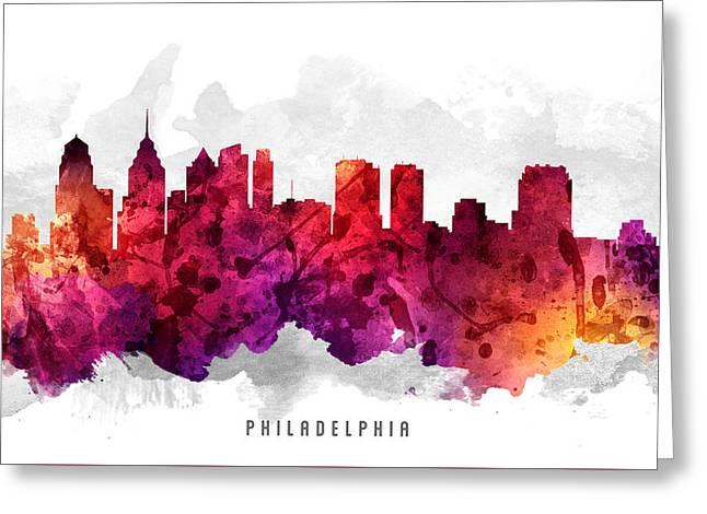 Philadelphia Pennsylvania Cityscape 14 Greeting Card by Aged Pixel