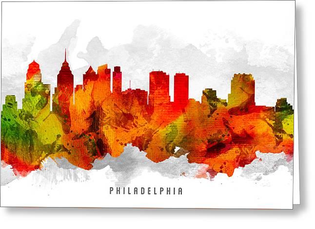 Philadelphia Pennsylvania Cityscape 15 Greeting Card by Aged Pixel