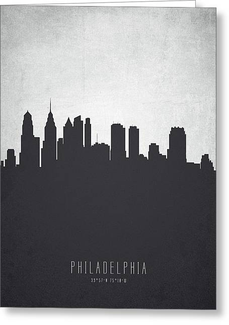Philadelphia Pennsylvania Cityscape 19 Greeting Card by Aged Pixel