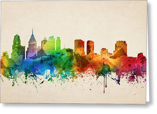 Philadelphia Pennsylvania Skyline 05 Greeting Card by Aged Pixel