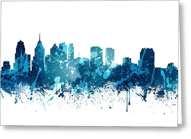 Philadelphia Pennsylvania Skyline 19 Greeting Card by Aged Pixel