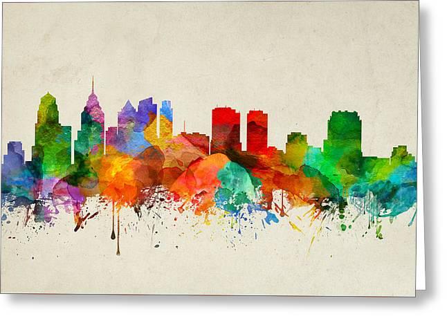 Philadelphia Pennsylvania Skyline 22 Greeting Card by Aged Pixel