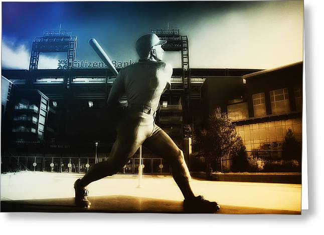 Philadelphia Phillies Stadium Digital Greeting Cards - Philadelphia Phillie Mike Schmidt Greeting Card by Bill Cannon