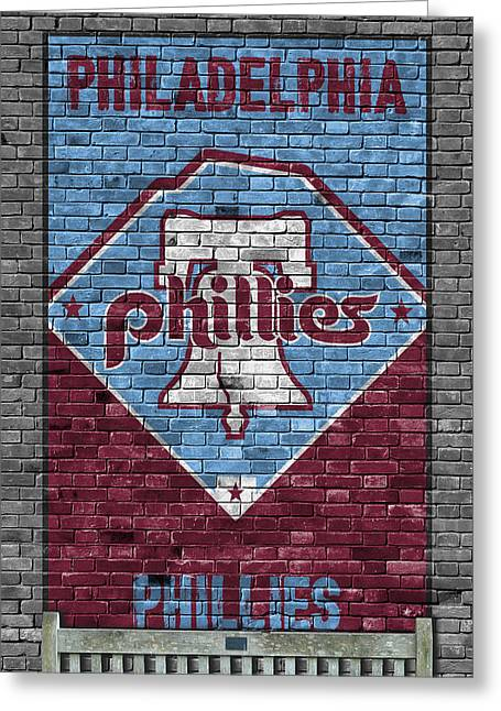 Philadelphia Phillies Brick Wall Greeting Card by Joe Hamilton
