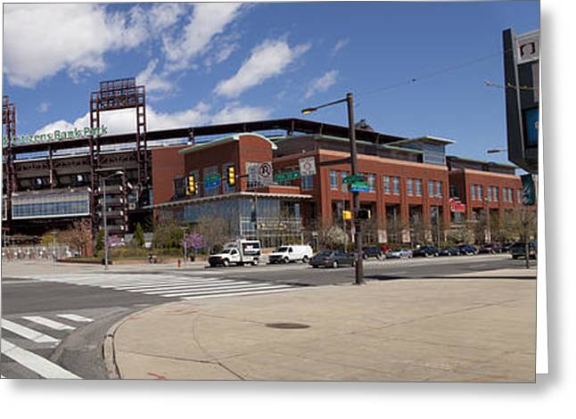 Citizens Bank Park Photographs Greeting Cards - Philadelphia Phillies Citizens Bank Park - Panoramic Greeting Card by Anthony Totah