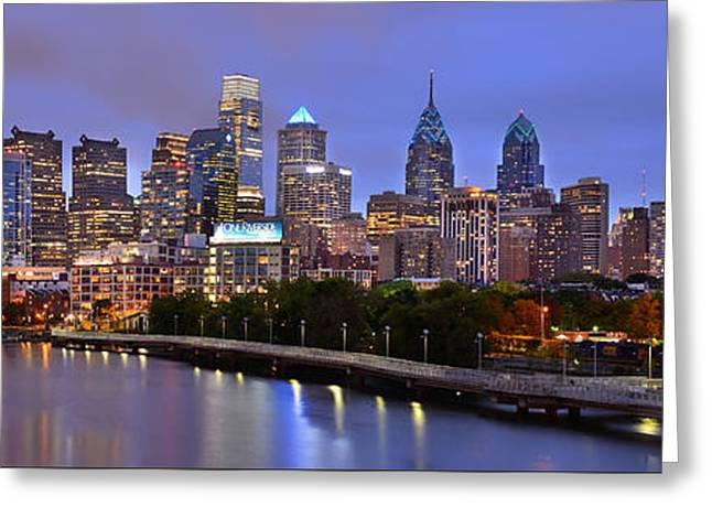Philadelphia Greeting Cards - Philadelphia Philly Skyline at Dusk from near South Color Panorama Greeting Card by Jon Holiday