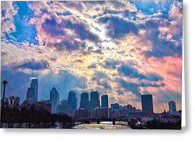 Philadelphia Digital Greeting Cards - Philadelphia Sky Greeting Card by Bill Cannon