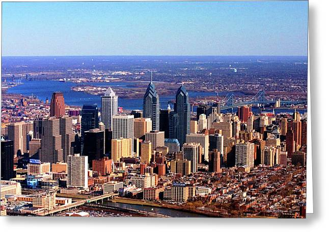 Phillies. Philadelphia Photographs Greeting Cards - Philadelphia Skyline 2005 Greeting Card by Duncan Pearson
